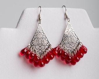 Red & Silver Drop Filagree Earrings