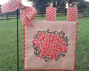 Embroidered Burlap Garden Flag - Happy Valentines - Matching Chevron Tabs and Bow