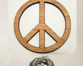Peace Sign (Large ) Wood Cut Out -  Laser Cut