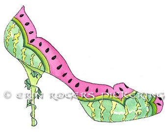 Watermelon fantasy shoe Fine Art Print