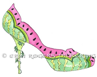Watermelon fantasy shoe Fine Art Print