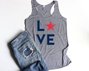 4th of July Tank Top LOVE Star USA Tank Top Ladies Merica Tanks Fourth of July Racerback Patriotic Red White and Blue America Tank Tops