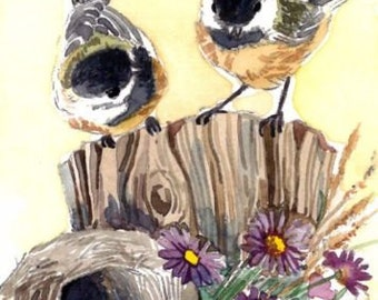 ACEO Limited Edition 4/25- Whisper of violet, Chickadee, Bird art print of an original watercolor, Gift idea for bird lovers