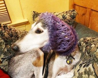 Handmade Crochet Hound Snood Saluki Sighthound One of a Kind Purple