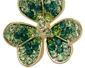 Swarovski Element Crystals St Patrick Day Three Leaves Clover Pin