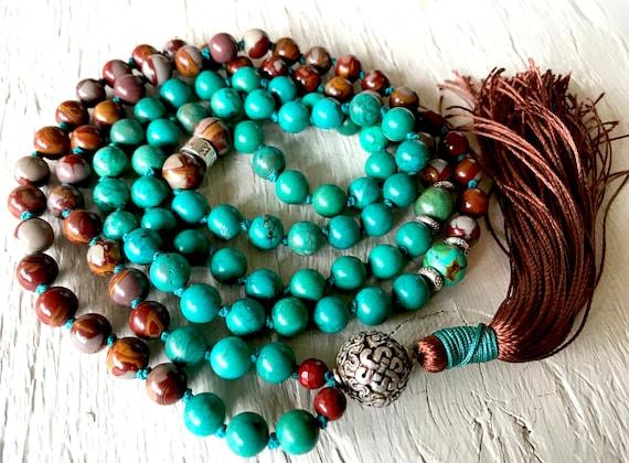 Turquoise Mala Beads, Jasper Mala Necklace, Protection Mala Beads,  Endless Knot Symbol, Buddhist Mala , 8 Auspicious Symbols,  Yoga Gift
