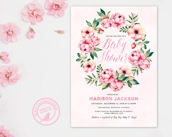 Floral Wreath Baby Shower Invitation | Pale Pink Flowers Shower invite | Neutral Baby Shower, Girl Baby Shower | Printable 0594