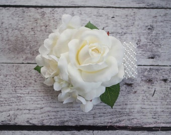 Ivory Rose and Hydrangea Corsage - Wedding Corsage