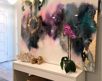 "Sold! Art Large Canvas Painting Gray, Purple, Pink Green, Blue Gold Ikat Ombre Glitter with Glass and Resin Coat 48"" x 60"" real gold leaf"