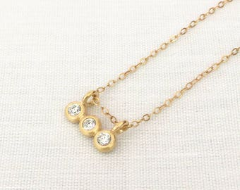 Small Triple Stone Layering Necklace