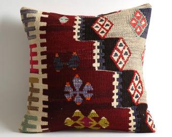 Sofa throw pillow 16x16 vintage kilim pillow