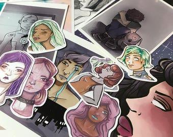"6 Piece Art Grab Bag - Dark Aesthetic Stickers and Prints - (2) 8.5""x11"" Illustration Prints, (1) 4""x6"" Art Print, (3) Art Stickers"