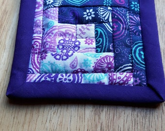 Set of 4 purple cotton fabric coasters with log cabin quilt pattern