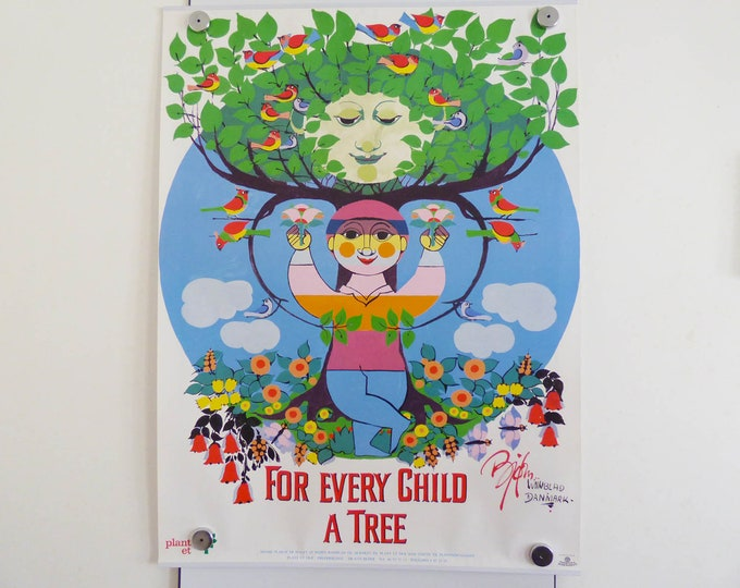 Reserved Bjorn Wiinblad Poster For every child a tree Vintage Danish modernist print