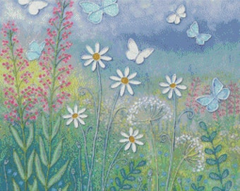 Cross Stitch Kit, 'Butterfly Meadow',Jo Grundy, Counted Needlecraft Kit with DMC materials, Woodland Cross Stitch