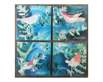 Grace Tree | Invite Grace | Welcome and Receive Grace | Share Grace | Listen |  Encaustic Reproduction on Cradled Wood Panels