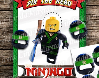 Pin the Ninja Lego inspired Pin the head game instant download