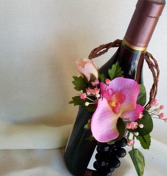 Flower Arrangements In Wine Bottles: Hot Pink Wine Bottle Topper Centerpiece Reception Decoration