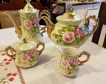 Vintage Lefton Green Heritage Hand Painted Coffee Pot, Tea Pot, Creamer and Sugar Bowl w/Lid