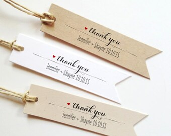 25 wedding thank you tags wedding gift tags bridal shower favor tag paper tags