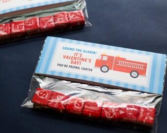 DIGITAL FILE Printable Valentine's Day Treat Topper Classmate Gift, Firetruck Valentine's Day Card, Firetruck Valentines Classroom Candy Bag
