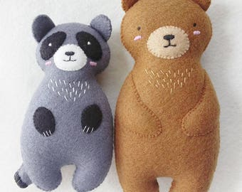 Set of 2 Woodland Animals Felt Plushies, Stuffed Animals Set, Brown bear and Raccoon Felt Dolls with Embroidery Details
