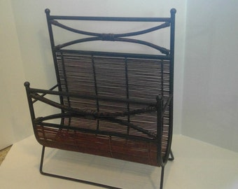 Vintage Wicker Rattan and Metal Magazine Rack