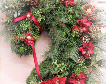 Horse Head Wreath. Ready to ship Priority in 24 hours! Order by the 18th to recieve by Xmas.Box wood Christmas HorseHead Wreath. Great gift
