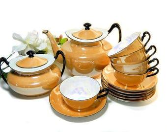 Art Deco Marigold Lusterware Teapot Cups Sugar Czechoslovakia