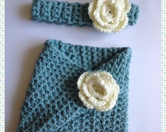 Crocheted  Cozy Cowl w/Matching Headband in Teal Blue Photo Prop Scarf Shawl
