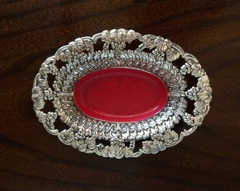 Silver Dish With Pink Interior/ Silver Jewelry Dish/ Oval Catch-all/ Pink Decor