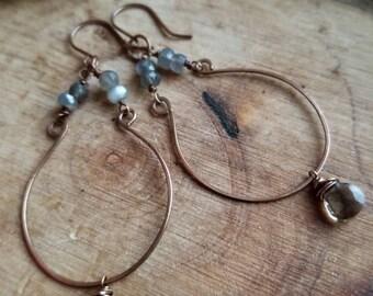 Gray Gemstone Earrings, Moonstone Hoops, Smoky Quartz Earrings, Copper and Gemstone Earrings, Moonstone Jewelry, Copper and Gray Stone Hoops