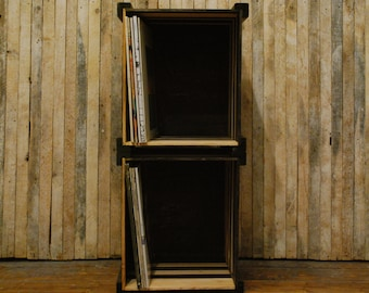 Stackable Record Crate or Vinyl Record Storage Crate, Espresso and Honey Stained Wood