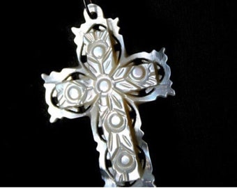 Vintage Hand Carved Mother of Pearl Cross Pendant from Bethlehem