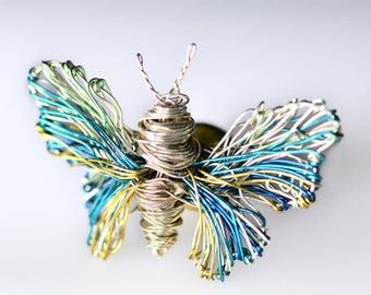 Butterfly brooch, light blue, silver butterfly, cute, jacket pin, wire art sculpture, boho chic, Insect jewelry, Summer, girlfriend gift