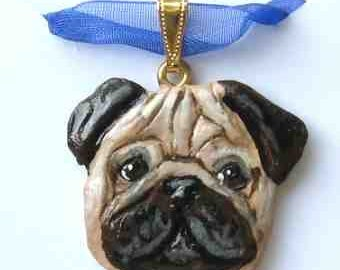 Dog Breed PUG FAWN Handpainted Clay Necklace/Pendant Artist Painted