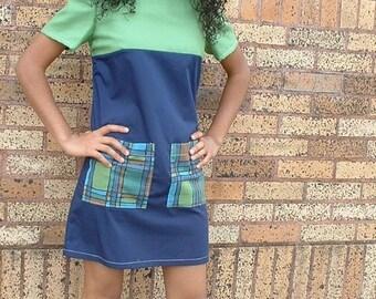 A Line Tunic Dress Big Pockets Recycled Repurposed Vintage Fabrics Boho Dress Blue Green Shift