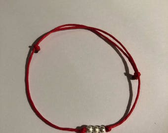 RED STRING BRACELET (with silver beads, adjustable )