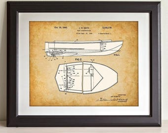 Vintage Chris-Craft Boat - 11x14 Unframed Patent Print - Great Gift for Boaters, Cabin, Lake House or Beach House Decor