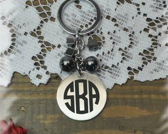 Monogram Stainless steel key chain , Bridesmaid Gift , Custom Wedding Gift, Name Initials key chain, Handmade monogram key chain