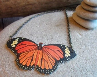 monarch butterfly necklace moth bug insect charm orange black yellow