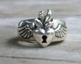 sacred heart ring, flaming heart, rockabilly,angel wings,padlock heart,love,feather, gothic, steampunk,goddess,flame ring