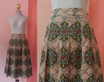 "GEORGES RECH Corduroy Skirt Medium Womens Skirts Vintage Skirt Women Hippie Skirt Novelty Print Skirt Knee Length Skirt Waist 28"" Size 8 M"