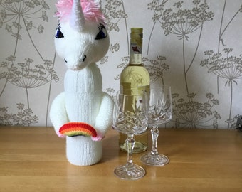 Unicorn Hand Knitted Wine Bottle Cover