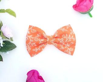 Orange floral hair bow, Orange fabric hair bow, Baby hair bows, Baby headband, sailor bow, school girl bow, Baby shower gift