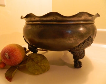 Antique Silver Plate Hartford 3 Footed Serving Bowl
