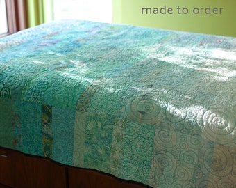 Queen Size Quilts Modern Quilt Turquoise Blue Quilt Custom Made Modern Quilt Minimalist Queen Quilt Ocean Quilt Fiber Art Quilt Sea Quilt