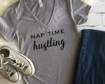 Nap time hustling shirt | Mom shirt | Mama shirt | Motherhood | Women shirts | Tops for women | Funny mom shirt | Cute mom shirt | Hustling