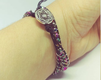 Leather Wrap Sparkle Bracelet