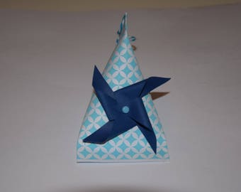 Box dragees with blue windmill for baptism, communion, wedding